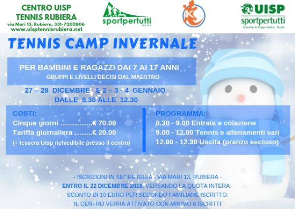 TENNIS CAMP INVERNALE 2018-2019